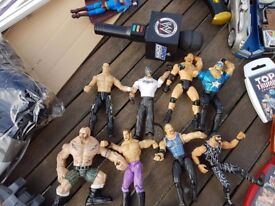 Vintage wwe figures and microphone from early 90's+ rare collectable