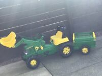 John Deere tractor for sale. 1 year old, used twice outdoors. Few scratches-like brand new! Age 3-4