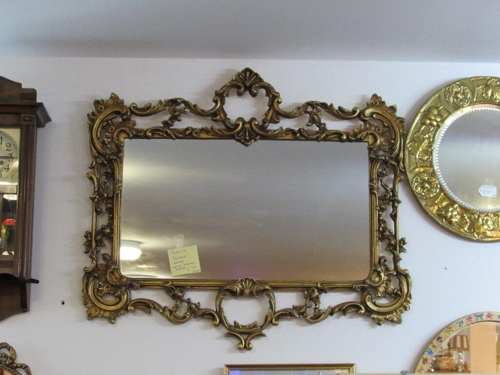 Vintage Metal Framed Wall Mirror By Rage