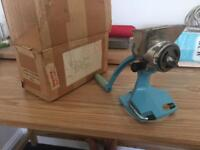 Vintage harper limpet meat grinder in turquoise blue