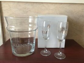 Millennium Glass Ice Bucket & 2 Wine Glasses New in Box