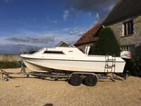 Shetland Cabin Cruiser Fishing Boat with 60hp 4 stroke Mariner Engine