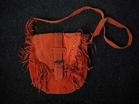 Brand new orange Suede tassel cross body bag