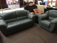 GREEN LEATHER SOFA WITH ARM CHAIR