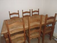 Corona Dining Table and 6 Chairs Mexican Pine for sale