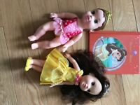 """Disney """"belle"""" beauty and beast bundle -2 dolls and book"""