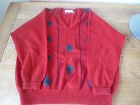 Pringle Golf sweater, vintage Nick Faldo, red with diamonds