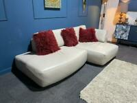 Stunning cream/off white leather corner chaise sofa