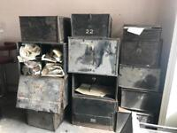 Job lot of old antique deed boxes