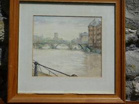 Vintage Framed Watercolour Bristol Bridge by Carol Frarey Painting Picture Art Castle Park