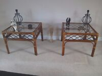 Pair of bamboo/cane glass topped square side tables.