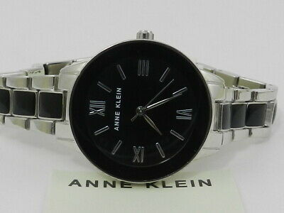 Anne Klein Women's Black Silver-Tone Resin Trend Bracelet Watch, 32mm