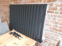 RRP- £297 NEW - Designer Anthracite Horizontal Single Slim Panel Radiator 1003 X 635MM