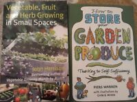 Gardening for small spaces and how to store garden produce books