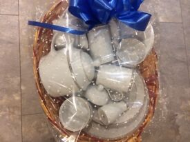 Royal Doulton platinum starter dinner set displayed in a wicker basket