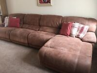 SOFA with CHAISE, reclining brown suede