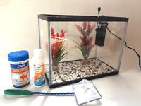 Fish tank aquarium 13 litres with filter, gravel, plants, food, net and water conditioner