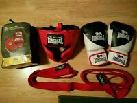 Boxing, judo, mma gear. Gloves, head gear, focus mitts/ pads, 2 x red belts