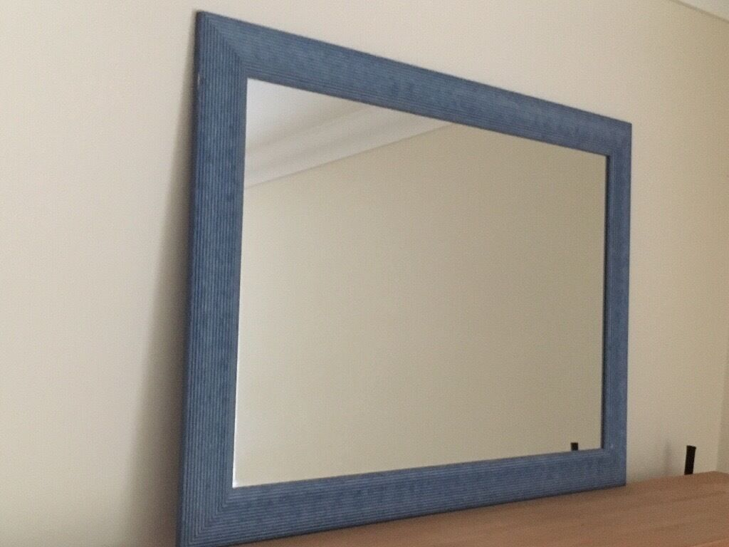 Wall mirror - large and contemporary with blue wood surround. Excellent condition.