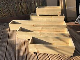 Small Wooden Garden Planter, Patio Planter 600mm x 190mm x 195mm