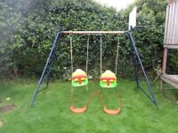 Hedstrom Toddler/Child Double Swing with Climbing Bars and Basketball Net