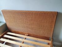 Rattan Woven Cane Double Bed Frame