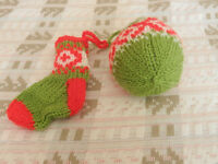 Hand Knitted Stocking and Bauble Christmas Decoration