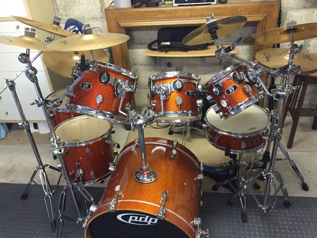 Dw Pdp X7 7 Piece Drum Kit With Zildjian Cymbal Set In