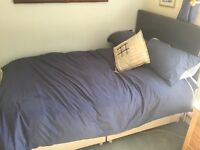 4ft Double Divan Bed with Faux leather Headboard