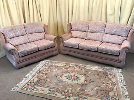 2 Piece Suite High Wing Back Pink 3 Seater Sofa & 2 Seater Settee
