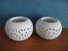 PAIR OF WHITE CERAMIC DECORATIVE BOWLS