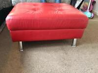 Red faux leather storage footstool!