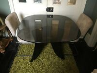RETRO STYLISH GLASS DINING TABLE AND 4 CHAIRS