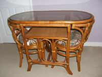 cane combination glass top table & 2 chairs