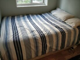 Double Bed Base with Ikea King Size Mattress