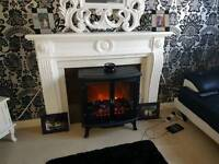 Fire place with double electric stove