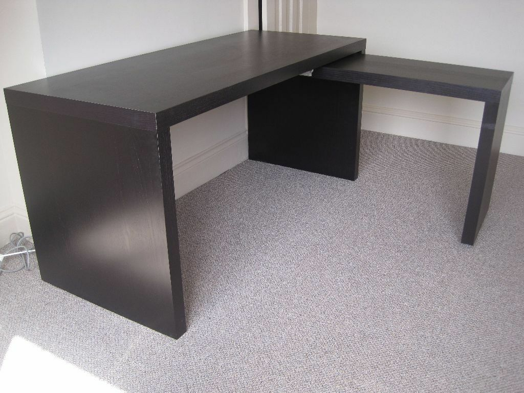 Ikea Malm Desk And Pull Out Side Table Workstation Black Brown
