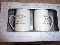 SILVER WEDDING ANNIVERSARY COFFEE MUGS - 25 YEARS MARRIED. BRAND NEW