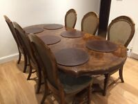 Polished Wood Antique Style Extendable Dining Table with 6 Cane Backed Chairs