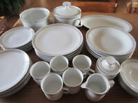 Winterling Dinner Service and tea set, very elegant, platinum on white, 36 pieces in all