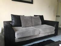 £250 - SOFAS BLACK N GREY CLOTH MINT CONDITION - 2 + 3 SEATER. £250 both.