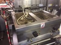 TWIN FRYER TABLE TOP MODEL CATERING COMMERCIAL FAST FOOD RESTAURANT KEBAB CHICKEN BAR