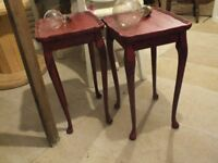 red shabby chic side tables