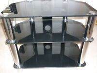 TV stand-black glass and chromed legs