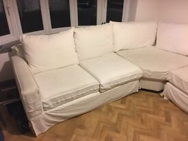 Large Pottery Barn cream L-shaped sofa, removable corner unit to make straight 3 seater