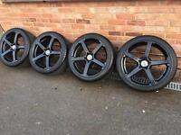 """18"""" black j type alloy wheels , 5x112, Audi A3 a4 vw golf polo seat Leon alloys Mercedes"""