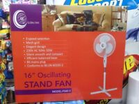 """Stand fan 16"""" oscillating bran new in box just arrived stock"""