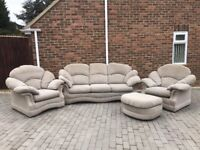 Beige fabric 3 piece suite and footstool