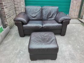 CLEARANCE Natuzzi Italian leather 2 seater sofa settee with stool very good cond / free delivery
