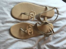 Tan Chanel sandals size 7/8